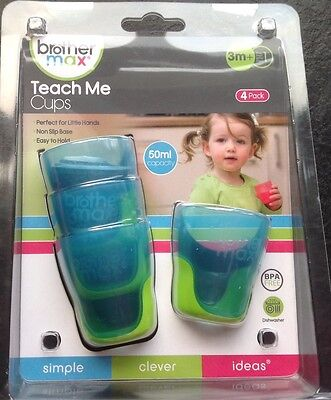 Brother max teach me cups pack of 4 (green/blue) -babies to help with weaning