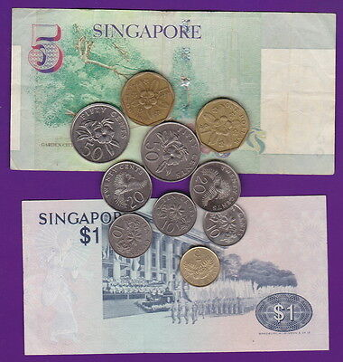 Singapore - Bulk MIXED CURRENT Set COINS/BANKNOTES for travellers or Collectors*