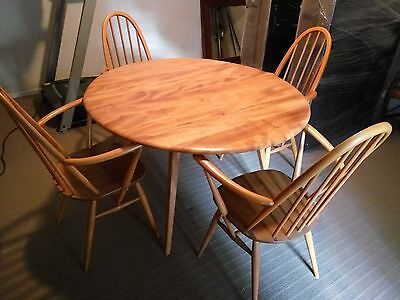 Ercol Dining Setting c.1960. Drop Leaf Table and 4 Chairs. Made in U.K.