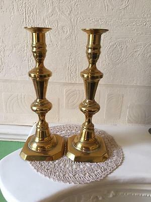 Antique Brass Candlestick Pair Victorian Circa 1880