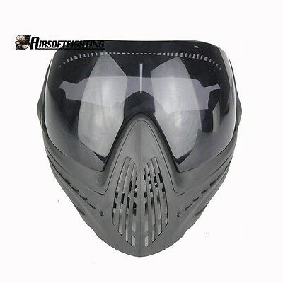 Tactical Paintball Hunting Full Face Mask Anti-fog Safety Goggles w/Black Lens