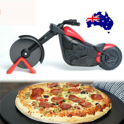 Non-stick Pizza Wheel Cutter Chopper Slicer Kitchen Tools Motorcycle Stand  ON