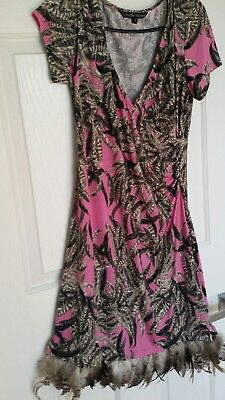 Charlie Brown Formal Wedding Feather Dress Size 12 Pink Brown