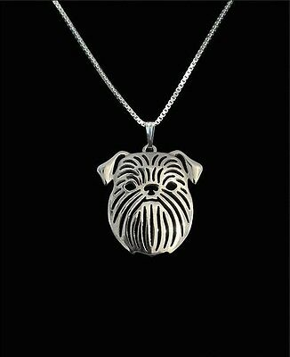 Brussels Griffon  Dog Pendant Necklace Silver Tone ANIMAL RESCUE DONATION