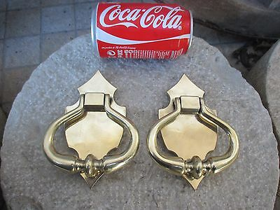 Vintage Beautiful Solid Brass Pair Door Knocker Knob Handle With Plate Cover