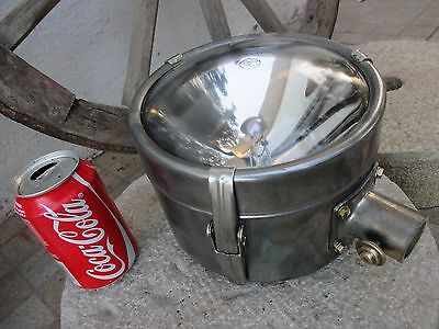 Antique Old Ship Salvage Large Head Focus in Brass Chrome Lamp General Electric
