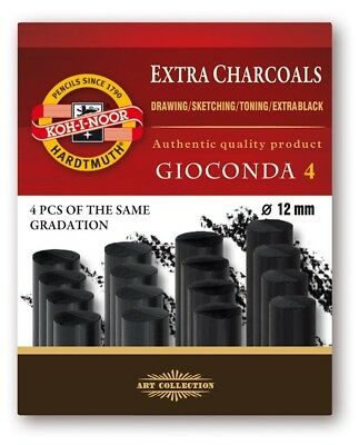 KOH-I-NOOR EXTRA CHARCOALS - 12mm charcoal in boxes of 4 pieces