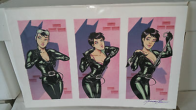 Signed Amanda Conner Catwoman Art Print Poster Signed Purple Ink