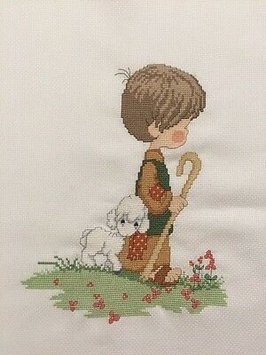 PRECIOUS MOMENTS Finished Completed Cross Stitch Shepherd Boy, Made in Australia