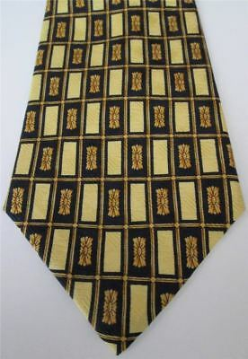 Countess Mara Tie Silk Gold and Blue Geometric Rectangles Made in the USA