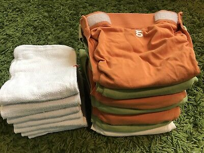 Gdiapers Size Large Lot Of 6 Covers & 12 Cloth Inserts + Bonus items
