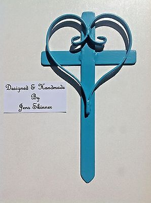 Grave marker Hand made Memorial Love Heart Cross Remembrance Garden Burial Blue