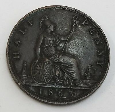 LOOK AT PHOTO Great Britain Half Cent - 1863 British 1/2-Penny in NICE CONDITION