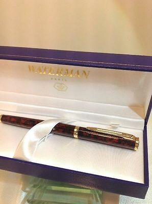 Waterman Preface Cognac  & Gold Trim Rollerball Pen New In Box