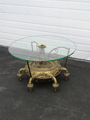 Early Victorian Carved Brass Round Glass Top Coffee Table 8568