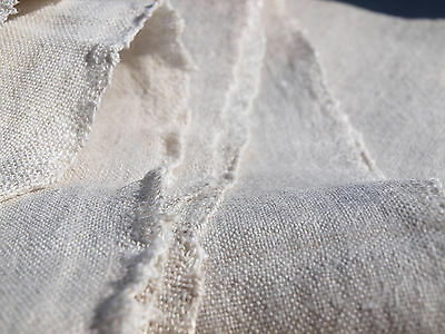 Yardage Antique HandWoven Flax Linen Homespun Vintage Fabric with DEFECT