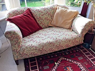Edwardian or late Victorian drop-end sofa settee, re-upholstered fire retardant