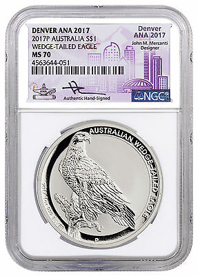 2017-P 1 oz Silver Wedge-Tailed Eagle Denver ANA 2017 NGC MS70 Mercanti SKU48653