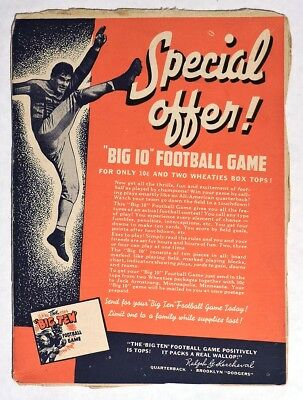 "S185. VINTAGE: Wheaties ""BIG 10"" FOOTBALL GAME Cereal Box Offer (1936) {"