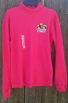 ACME Kids Tweety Bird Sylvester Embroidered Warner Brother Turtle Neck Shirt A58