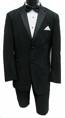 Black Chaps Tuxedo with Pants, Silver Vest, & Black Tie Wedding Prom Mason