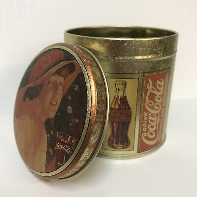 Drink Coca-Cola Small Round Collectible Tin Box Container Woman Portrait Hat Lid