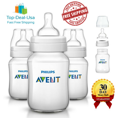 Philips Avent Anti Colic Baby Bottles Clear 9 Ounce Oz 3 Piece BPA Free New Set
