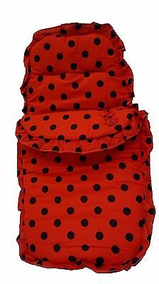 Cotton Footmuff/CosyToes - Red and Black Polka Dots