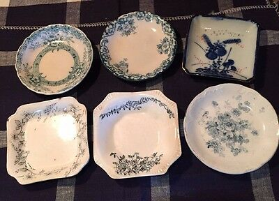 6 Antique Victorian Butter Pats - Various English Makers - Allertons, New Wharf