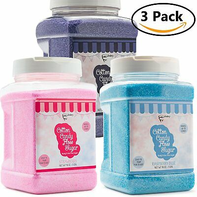 The Candery Cotton Candy Floss Sugar 3-Pack | Raspberry Blue , Strawberry and |