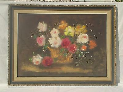 Greek Greece Oil Art Listed Doris Michail Papageorgiou Still Life, Wild flowers.
