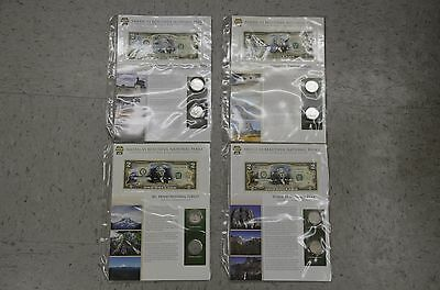 SET 4 Two Dollar 2$ bill AND COINS US Mint currency National Parks Legal Tender