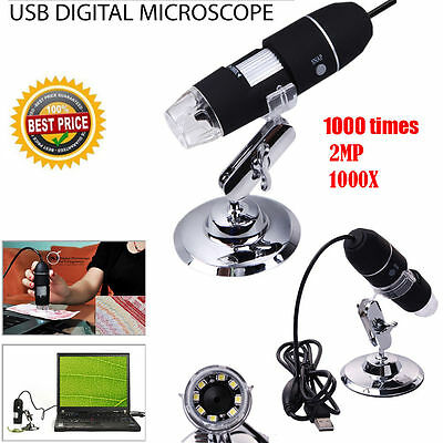 USB Microscope Endoscope 1000X 2MP 8LED Digital Magnifier Camera Black + Stand