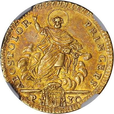 Italy Papal States 1784 30 Paoli Gold Coin Almst Uncirculated Certified Ngc Au55