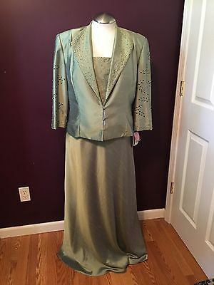 KM Collections Green Mother of the Bride Groom Formal Dress Women's Size 18