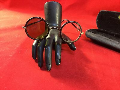 VTG Steampunk Pair Of Wire framed Glasses One Tinted Lens One Clear Lens Set B