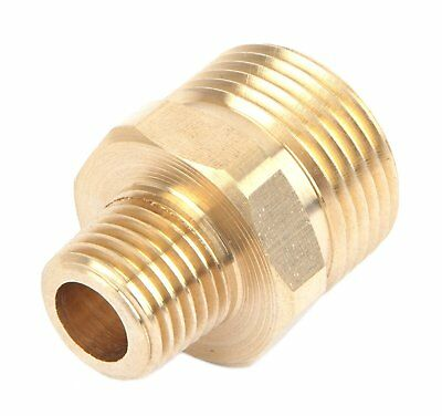 "Pressure Washer Fitting Adapter Connector Plug 22mm Male X 1/4"" Male NPT"