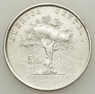 Costa Rica: Ceiba Tree 50 Centavos 1865 Gw, Grades About Xf, Cleaned