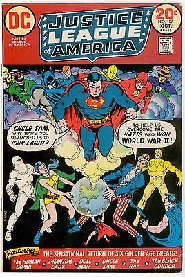 Justice League of America #107 (1973) 1st Modern app Uncle Sam Ray Black Condor