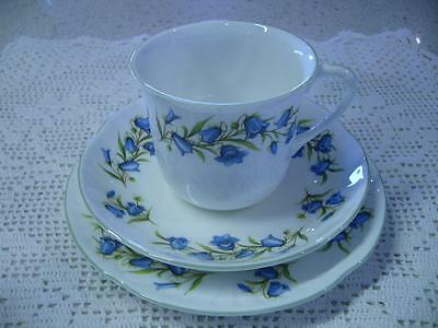 Vintage Crown Staffordshire 'bluebell' Bone China Trio - England - High Tea Vgc