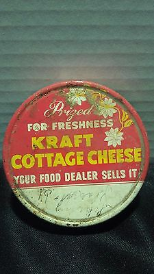 "1930s Antique Kraft Advertising Lid ""Prized for Freshness Kraft Cottage Cheese"""
