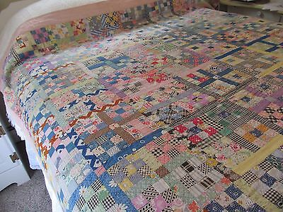 "Antique Quilt Postage Stamp 9-Patch Handmade Feed Sack Fabrics 69"" x 83"""