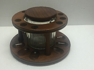 Vintage Decatur Walnut Wood 9 Pipe Stand Holder With Glass Humidor
