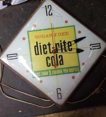 VTG Sugar - Free  diet - rite Cola  (Pam electric clock) Working and Nice- Rare!
