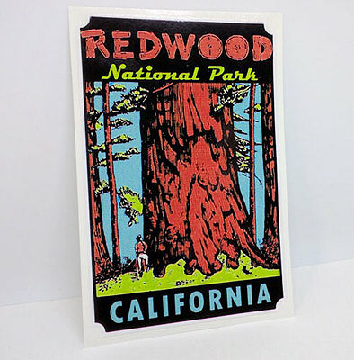 Redwood National Park Vintage Style Travel Decal, Vinyl Sticker, Luggage Label