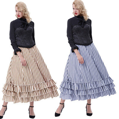 Victorian Vintage Women Gothic High Waist Stripes Bustle Ruffled Steampunk Skirt