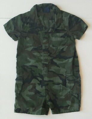 Baby GAP Toddler Boy Camo Camouflage Romper Outfit sz 12-18 month