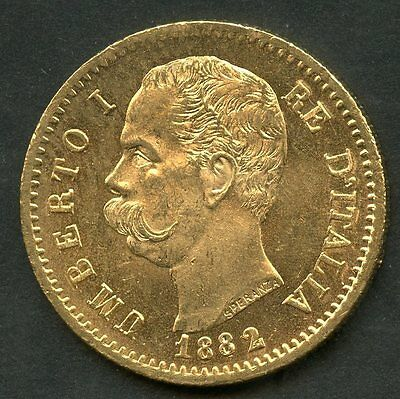 Italy 1882 Gold 20 Lire Coin  Contains  1867  Ounces Of Pure Gold You Grade
