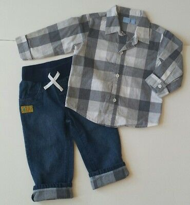 Children's Place Baby Toddler Boy Outfit Set Gray Check Shirt Jeans Pants 12 mon