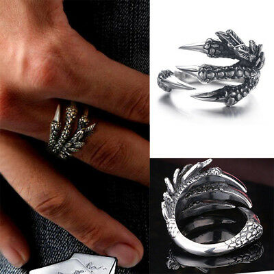 Dragon Claw Finger Ring Women Men Punk Jewelry Vintage Silver Stainless Steel